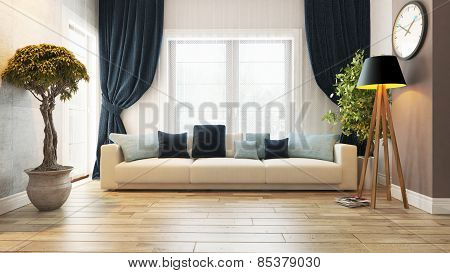 Living Room With Seat 3D Rendering