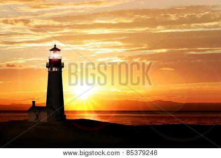 Lighthouse searchlight beam near ocean at sunset