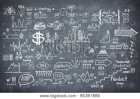 Blackboard chalkboard texture infographics collection hand drawn doodle sketch business ecomomic fin