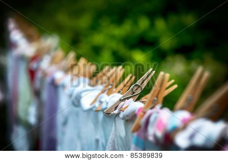 Eco-friendly washing line laundry drying