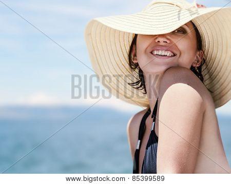 Brunette on the beach portrait