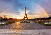 Rainbow over Eiffel tower in Paris, France poster
