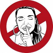 Great Illustration of a Warning Sign with Girl putting her forefinger to her lips to indicate silence is required. poster