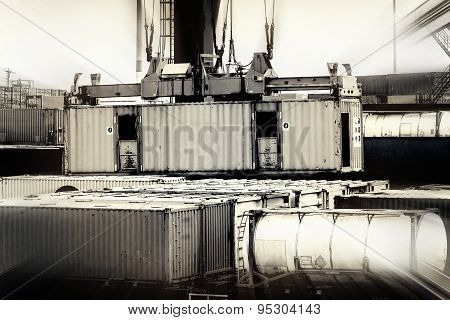 Closeup In A Container Terminal In The Port Of Rotterdam