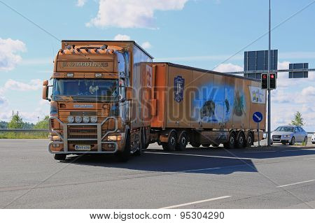 Scania Trailer Truck With James Bond Theme In Traffic