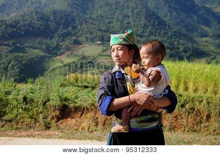 H'mong ethnic minority woman with her son