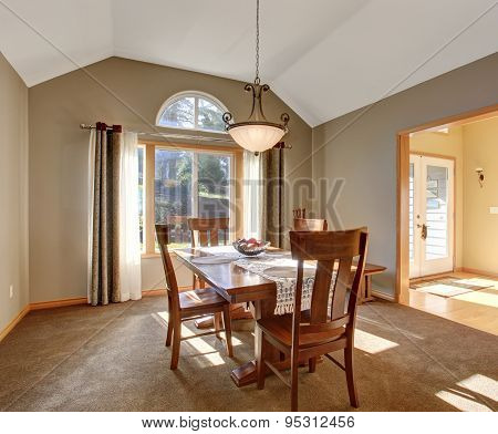 Traditional Dinning Room With Carpet, In Beautiful Northwest Home.