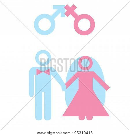 Marriage. Icon of couple with male female marker. Vector illustration on white background. poster