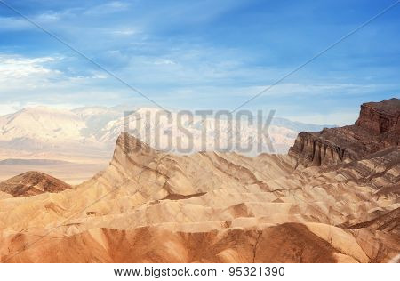 Zabriskie Point Mountain Range In East Part Of Death Valley National Park In California, Usa