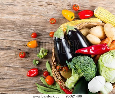 View From Above Of Set Of Fresh Vegetables In A Basket