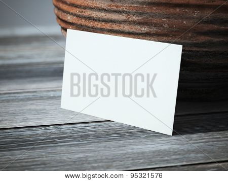 Blank business card on the table