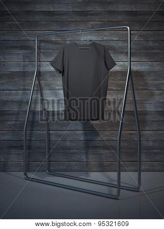 Blank black t-shirt. 3d rendering