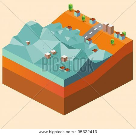 flood caused by tsunami. vector illustration