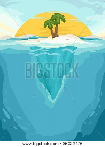 Background Illustration of a Tiny Islet in the Middle of the Sea