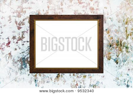 Old Russian Style Vintage Golden Frame On Old Time Grunge Background Wall Strong Concept Dissonance