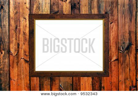 Old Russian Style Vintage Golden Frame On Wooden Rough Planks Background Concept Dissonans Of Elegan