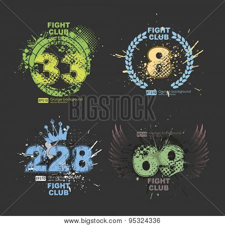 Grunge gangster lucky number prints vector. Grunge print for t-shirt. Abstract dirt backgrounds texture. Grunge banner with an inky dribble strip with copy space. Abstract background for party