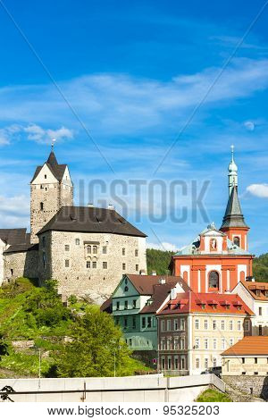 Loket Castle with town, Czech Republic