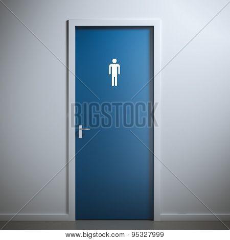 toilet door for male  gender. 3d rendering