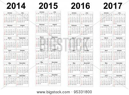 Set of square european 2014, 2015, 2016, 2017 year vector calendars.