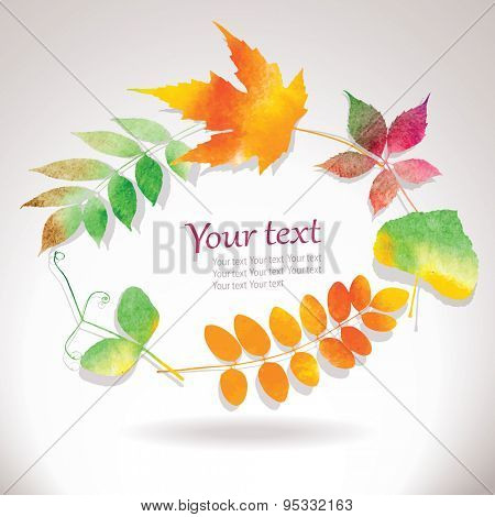 Vector autumn frame from water color leaves, editable eps 10