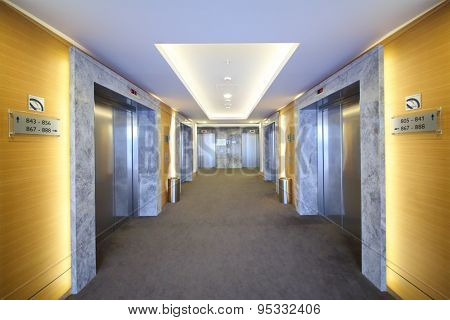 SOCHI, RUSSIA - JUL 27, 2014: Interior of modern vestibule with lifts in the Hotel Radisson Blu Paradise Resort and Spa