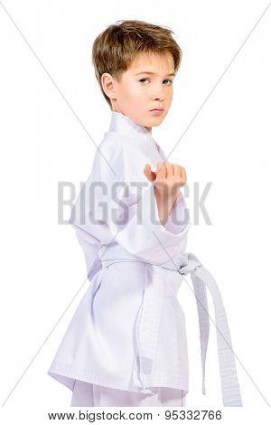 Karate boy in kimono posing in the studio. Sport, martial arts. Isolated over white.