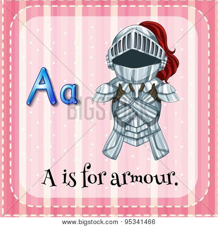 Flashcard letter A is for armour
