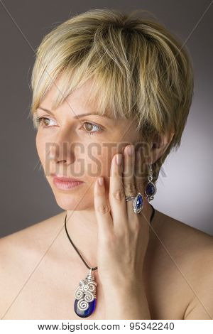 Forty years woman  and jewelry