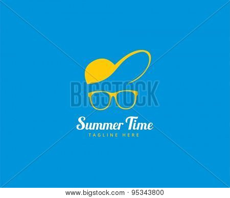 Abstract vector logo element. Vocation, summer time, glasses with cap. Stock illustration for design