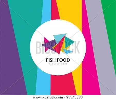 Abstract vector element. Color fish food logo template. Stock illustration for design