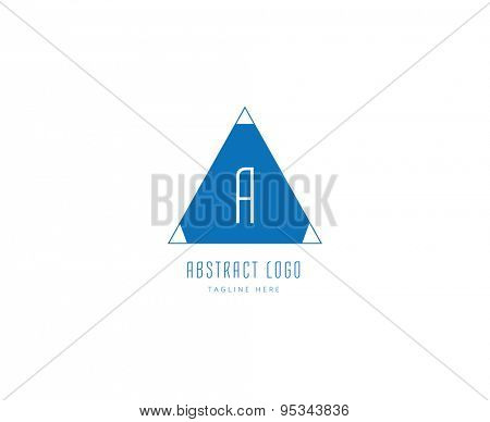 Abstract vector logo element. Logotype template, arrows, shape, text. Stock illustration for design