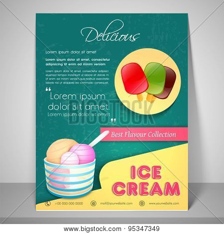Retro menu for delicious ice cream with address bar and mailer.