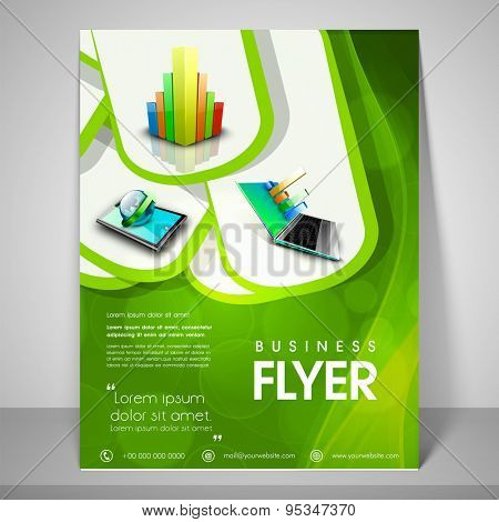 Stylish green flyer design for business with image of graph, laptop, globe, address bar, place holder and mailer.