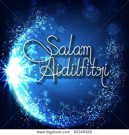 Sparkling crescent moon with stylish text Salam Aidilfitri on grungy blue background for Muslim community festival celebration.