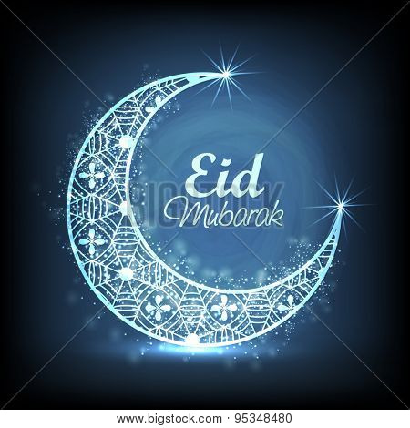 Shiny floral decorated crescent moon on blue background for muslim community festival, Eid Mubarak celebration.