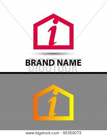 Letter I logo, real estate symbol
