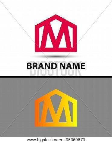 Letter M logo, real estate symbol