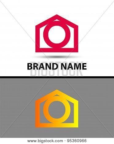 Letter o logo, real estate symbol