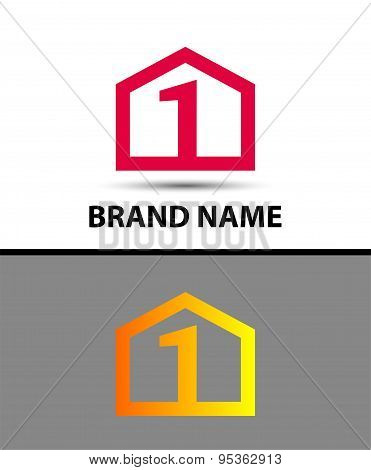 Logo number one, 1 icon template with house icon