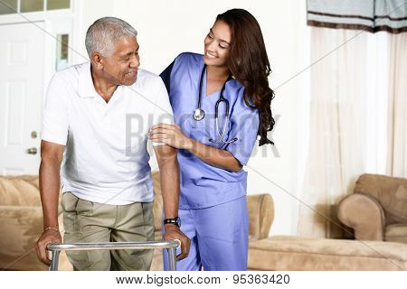 Health care worker helping an elderly man