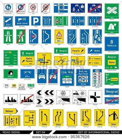 Set of road signs. Signboards. Collection of mandatory traffic signs. Vector illustration.