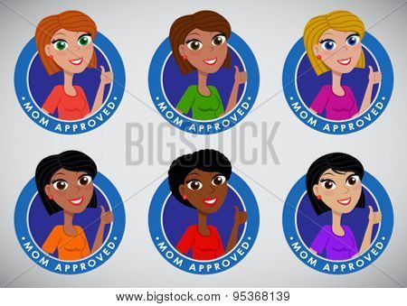 Multi ethnic multiracial Mom Approved Seal Icon set