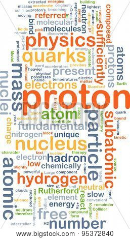 Background concept wordcloud illustration of proton