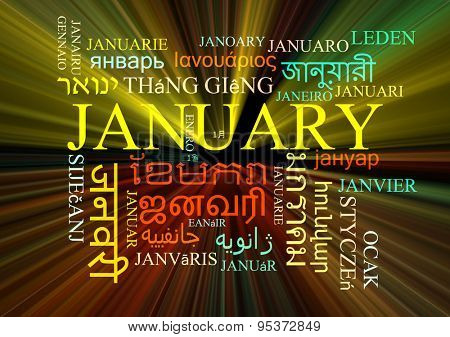 Background concept wordcloud multilanguage international many language illustration of January glowing light