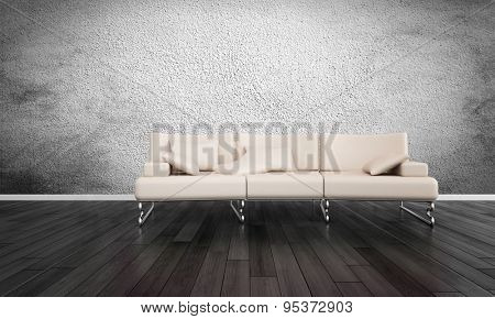 Modern White Sofa in Empty Room with Hardwood Floors and Grey Textured Wall. 3d Rendering.