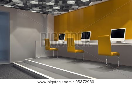 Contemporary internet cafe with a feature yellow wall and a row of computers at a counter on a platform with matching yellow chairs, windowless room lit by down lights. 3d Rendering