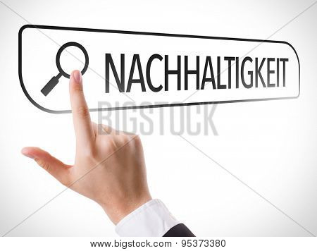 Sustainability (in German) written in search bar on virtual screen