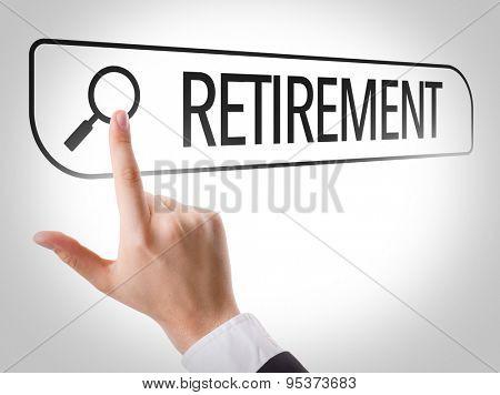 Retirement written in search bar on virtual screen