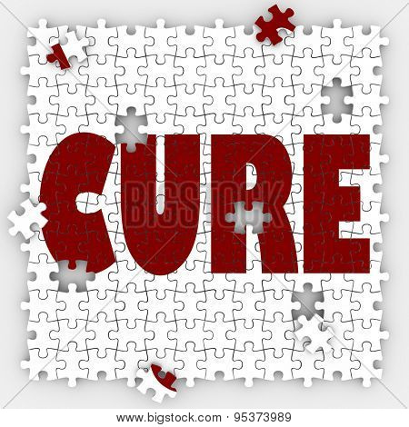 Cure word on puzzle pieces to illustrate medical treatment and research for remedy or fix for an illness, disease or sickness
